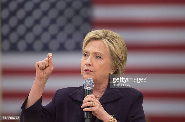 Democratic presidential candidate former Secretary of State Hillary Clinton speaks to guests gathered for a town hall meeting at the Williamsburg...