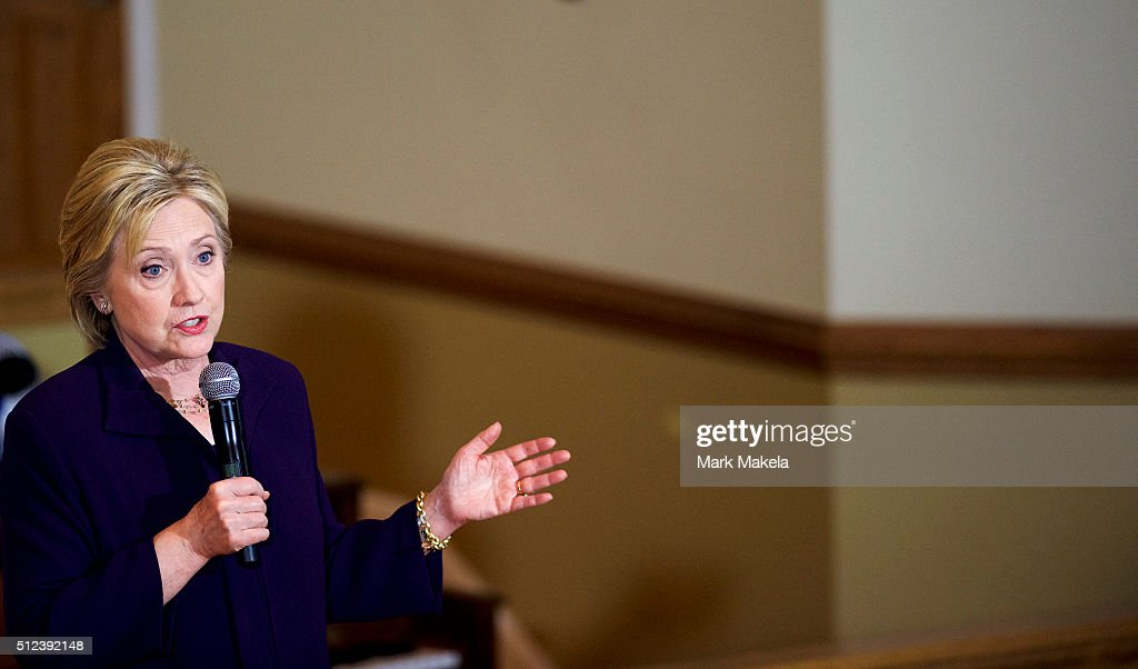 Democratic Presidential candidate, former Secretary of State Hillary Clinton holds a Breaking Down Barriers Town Hall with Senator Cory Booker February 25, 2016 at the Cumberland United Methodist in Florence, South Carolina. The South Carolina Democratic Presidential Primary is on February 27. Last Saturday, the South Carolina GOP Presidential Primary shattered records with 137,092 more votes cast than in any previous primary.