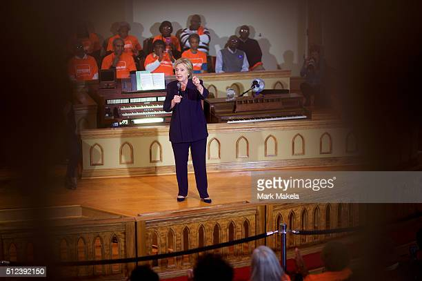 Democratic Presidential candidate former Secretary of State Hillary Clinton holds a Breaking Down Barriers Town Hall with Senator Cory Booker...