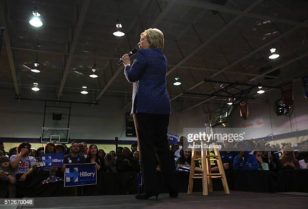 Democratic presidential candidate former Secretary of State Hillary Clinton speaks during a Get Out The Vote at Miles College on February 27 2016 in...