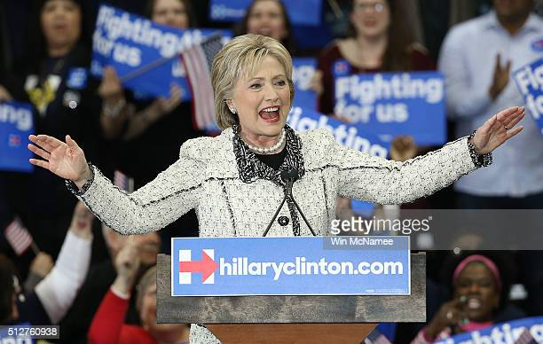 Democratic presidential candidate former Secretary of State Hillary Clinton gives a victory speech to supporters at an event on February 27 2016 in...