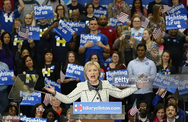 Democratic presidential candidate, former Secretary of State Hillary Clinton gives a victory speech to supporters at an event on February 27, 2016 in...