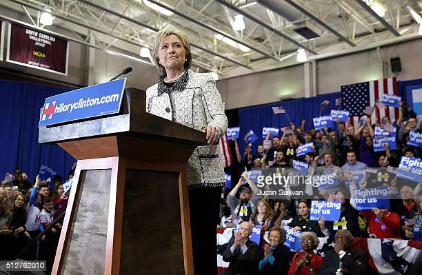 Democratic presidential candidate former Secretary of State Hillary Clinton speaks during her primary night gathering at the University of South...