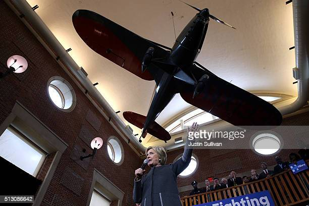 Democratic presidential candidate former Secretary of State Hillary Clinton speaks during a Get Out The Vote rally at the Lyman Merrie Wood Museum of...