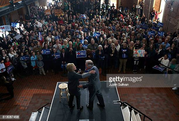 Democratic presidential candidate former Secretary of State Hillary Clinton greets supporters with US Rep Richard Neal during a Get Out The Vote...
