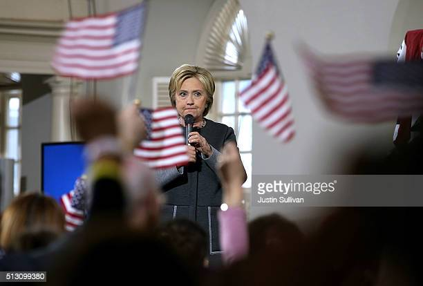 Democratic presidential candidate former Secretary of State Hillary Clinton speaks during a Get Out The Vote event at the Old South Meeting Hall on...
