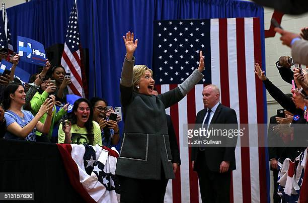 Democratic presidential candidate former Secretary of State Hillary Clinton greets supporters during a Get Out The Vote event at Lake Taylor Senior...