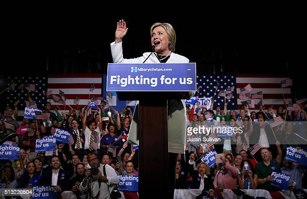 Democratic presidential candidate former Secretary of State Hillary Clinton speaks during her Super Tuesday evening gathering Stage One Ice Studios...