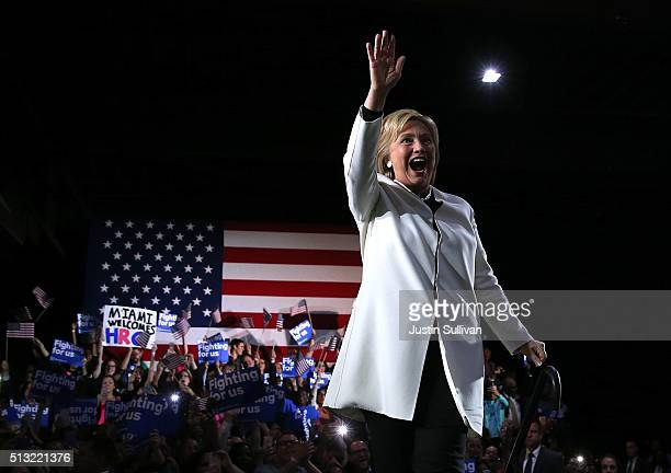 Democratic presidential candidate former Secretary of State Hillary Clinton greets supporters during her Super Tuesday evening gathering Stage One...