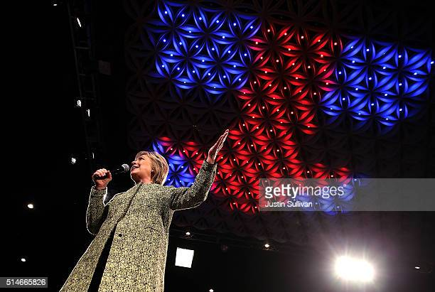 Democratic presidential candidate former Secretary of State Hillary Clinton speaks during a Get Out the Vote event at The Ritz Ybor on March 10 2016...