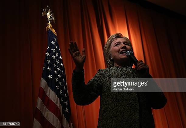 Democratic presidential candidate former Secretary of State Hillary Clinton speaks to an overflow crowd during a campaign event at the Sullivan...