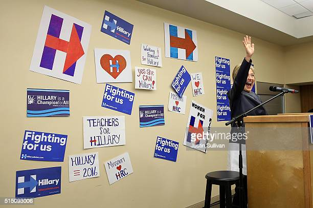 Democratic presidential candidate former Secretary of State Hillary Clinton speaks to supporters during a canvass kickoff event at the O'Fallon Park...