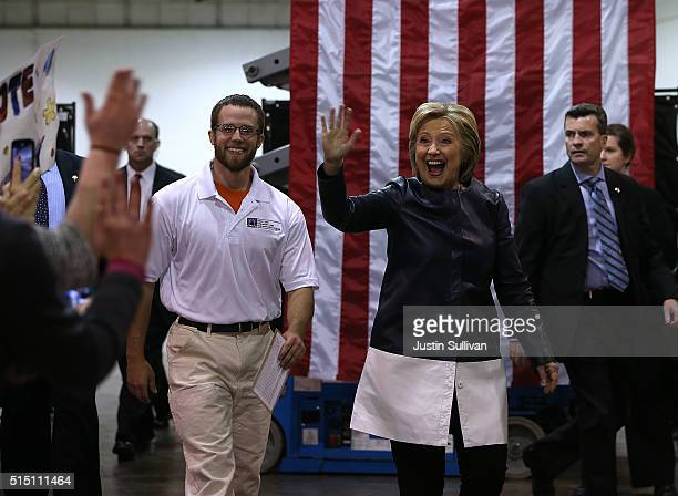 Democratic presidential candidate former Secretary of State Hillary Clinton greets supporters during a Get Out the Vote event at the NelsonMulligan...