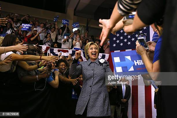 Democratic presidential candidate former Secretary of State Hillary Clinton greets supporters during a Get Out the Vote event at Grady Cole Center on...