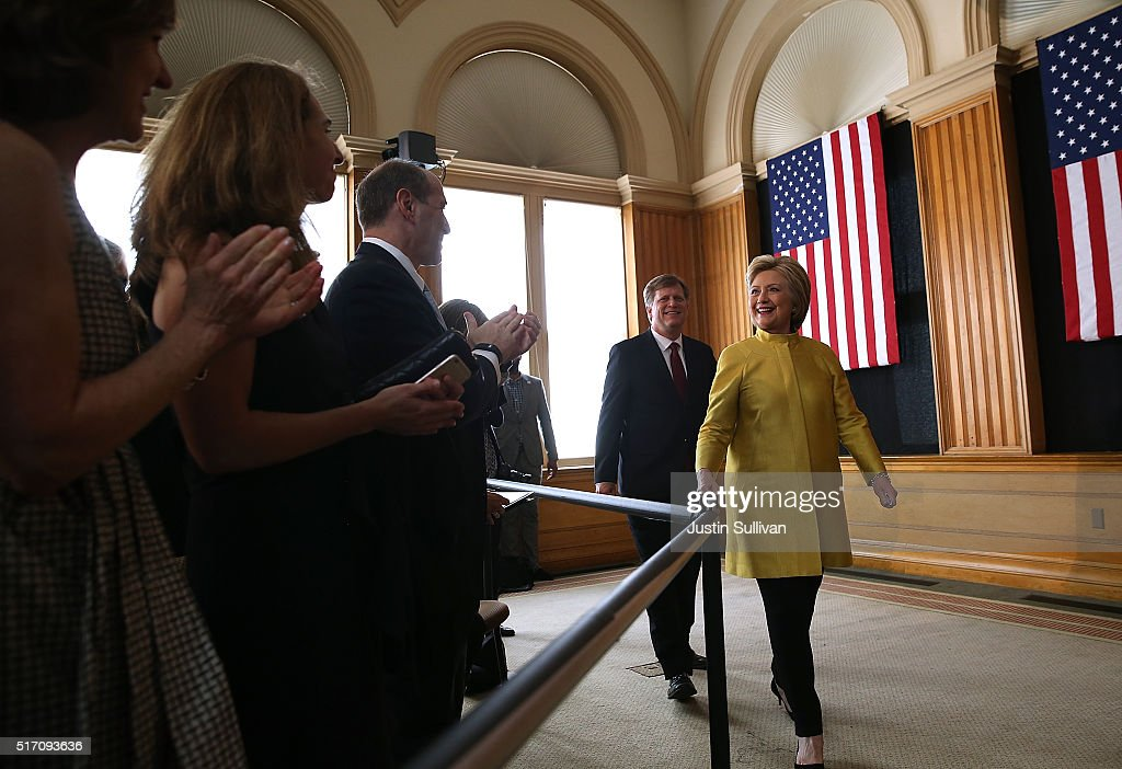 Democratic presidential candidate former Secretary of State Hillary Clinton greets attendees before delivering a counterterrorism address at Stanford University on March 23, 2016 in Stanford, California. A day after terror attacks left dozens people dead in Brussels, Hillary Clinton delivered a counter terrorism speech.