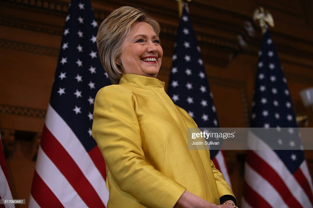 Hillary Clinton Delivers Counterterrorism Speech At Stanford University : News Photo