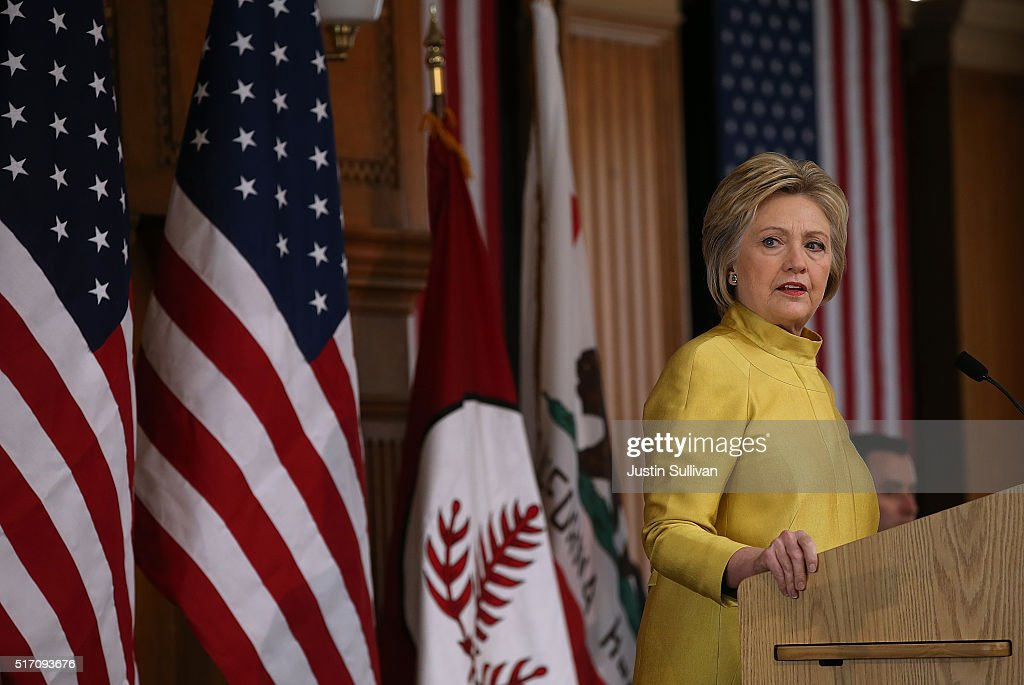 Democratic presidential candidate former Secretary of State Hillary Clinton delivers a counterterrorism address at Stanford University on March 23, 2016 in Stanford, California. A day after terror attacks left dozens people dead in Brussels, Hillary Clinton delivered a counter terrorism speech.