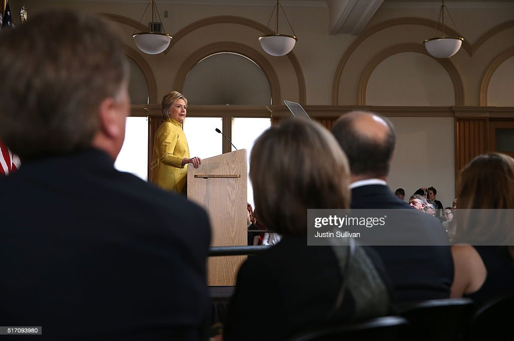 Democratic presidential candidate former Secretary of State Hillary Clinton delivers a counterterrorism address at Stanford University on March 23, 2016 in Stanford, California. A day after terror attacks left dozens people dead in Brussels, Hillary Clinton delivered a counterterroism speech.