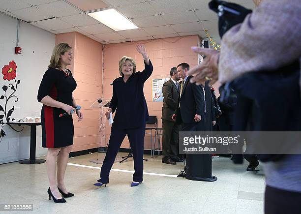 Democratic presidential candidate former Secretary of State Hillary Clinton greets members of the community at the Corsi Senior Center on April 15,...