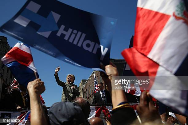 Democratic presidential candidate former Secretary of State Hillary Clinton speaks during a neighborhood block party on April 17, 2016 in the...