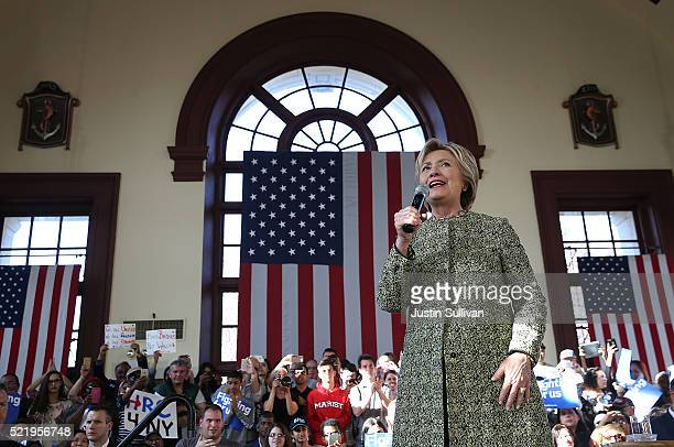 Democratic presidential candidate former Secretary of State Hillary Clinton speaks during a campaign rally at Snug Harbor's Great Hall on April 17,...