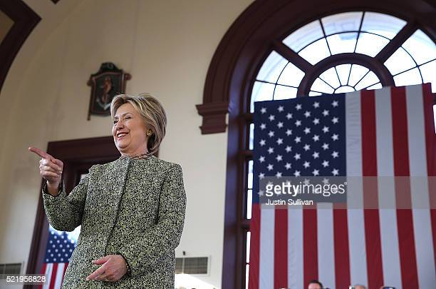 Democratic presidential candidate former Secretary of State Hillary Clinton greets supporters during a campaign rally at Snug Harbor's Great Hall on...