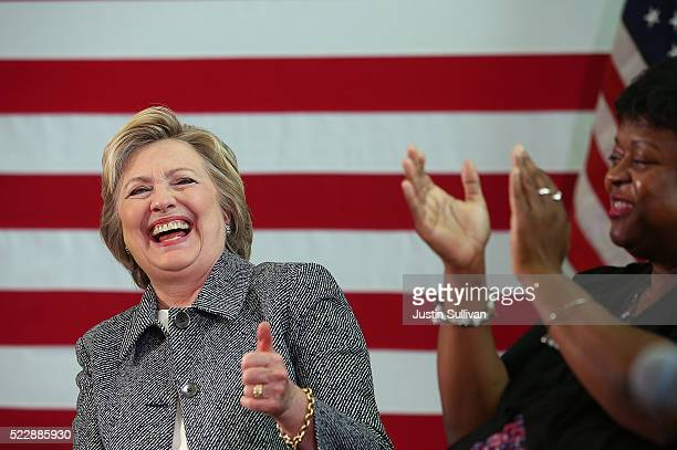 Democratic presidential candidate former Secretary of State Hillary Clinton laughs during the Hartford Gun Violence Prevention Discussion on April 21...