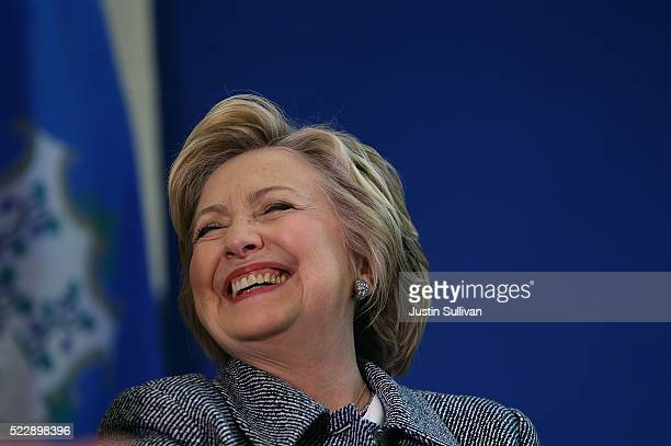 Democratic presidential candidate former Secretary of State Hillary Clinton laughs during the Hartford Gun Violence Prevention Discussion on April 20...