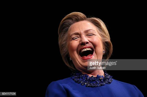 Democratic presidential candidate former Secretary of State Hillary Clinton laughs during a Get Out the Vote rally at World Cafe Live at the Queen on...