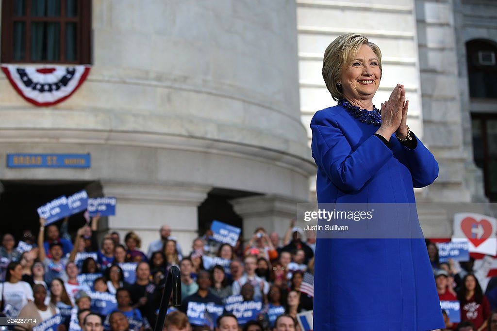 Hillary Clinton Holds Philadelphia Campaign Rally One Day Before PA Primary : News Photo
