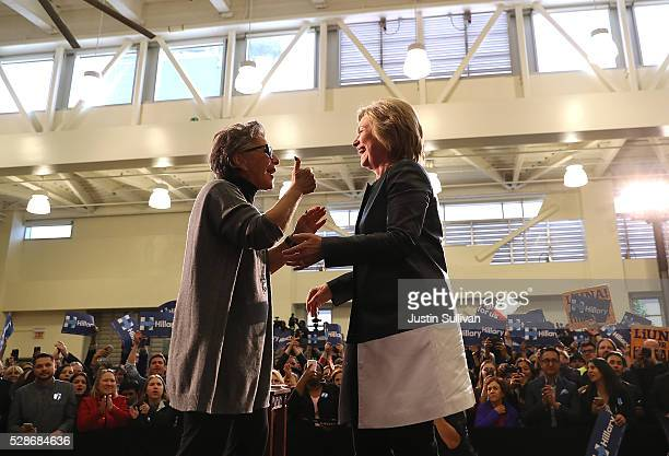 Democratic presidential candidate former Secretary of State Hillary Clinton and US Sen Barbara Boxer embrace during a campaign rally on May 6 2016 in...