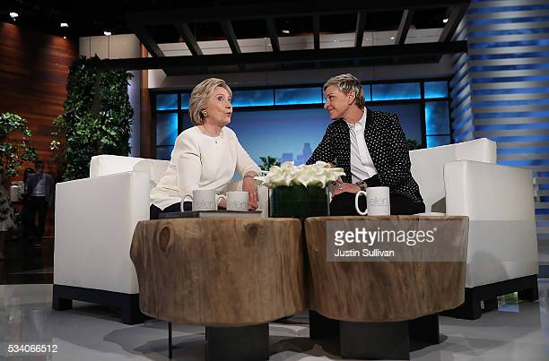 Democratic presidential candidate former Secretary of State Hillary Clinton talks with Ellen DeGeneres during a taping of The Ellen DeGeneres Show on...