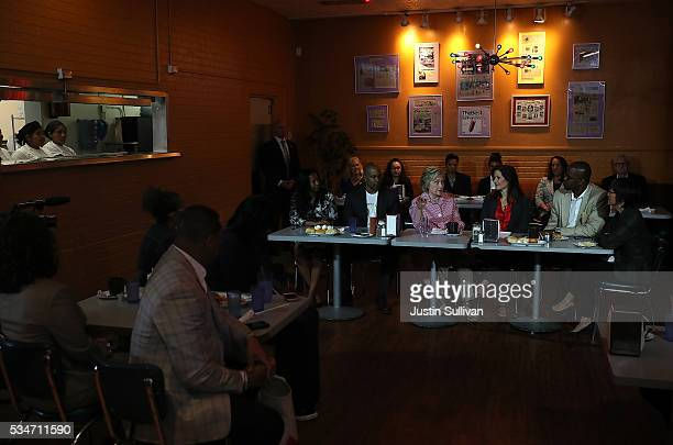 Democratic presidential candidate former Secretary of State Hillary Clinton speaks during a roundtable discussion at Home of Chicken and Waffles on...