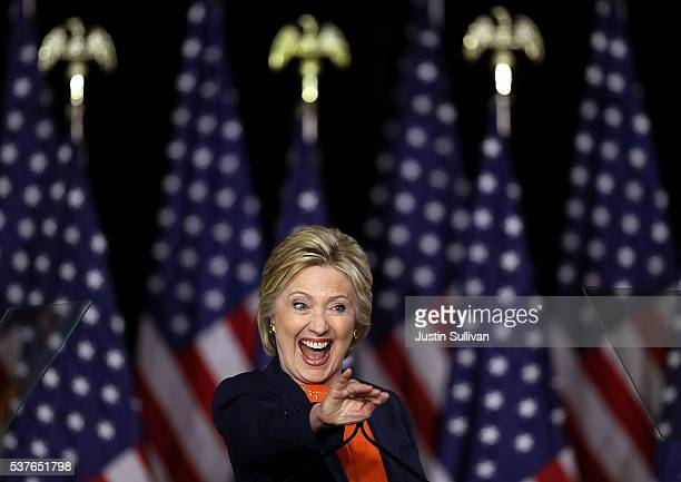 Democratic presidential candidate former Secretary of State Hillary Clinton greets supporters after she delivered a national security address on June...