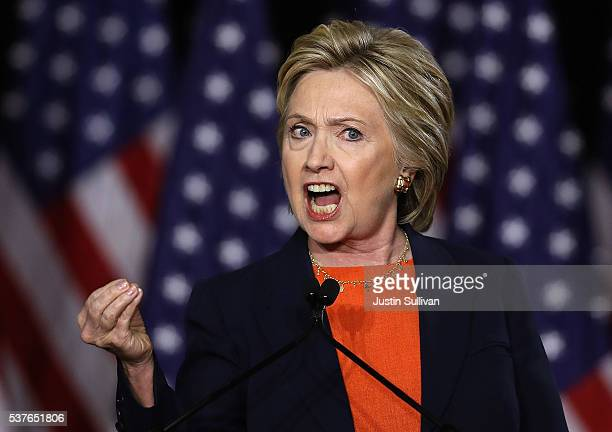 Democratic presidential candidate former Secretary of State Hillary Clinton delivers a national security address on June 2 2016 in San Diego...