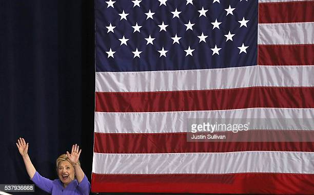 Democratic presidential candidate former Secretary of State Hillary Clinton greets supporters during a Women for Hillary Organizing event at West Los...