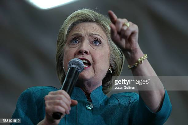 Democratic presidential candidate former Secretary of State Hillary Clinton speaks during a campaign rally at Hueneme High School on June 4 2016 in...