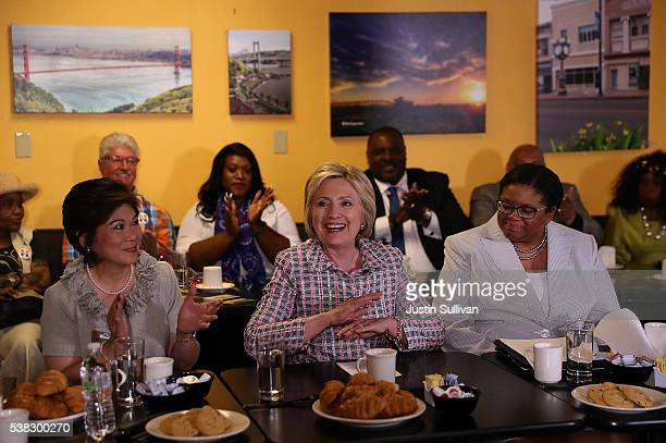 Democratic presidential candidate former Secretary of State Hillary Clinton speaks during a conversation with community leaders on June 5 2016 in...