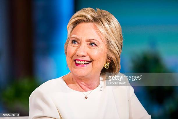Democratic presidential candidate former Secretary of State Hillary Clinton talks with Ellen DeGeneres during a taping of The Ellen DeGeneres Show...