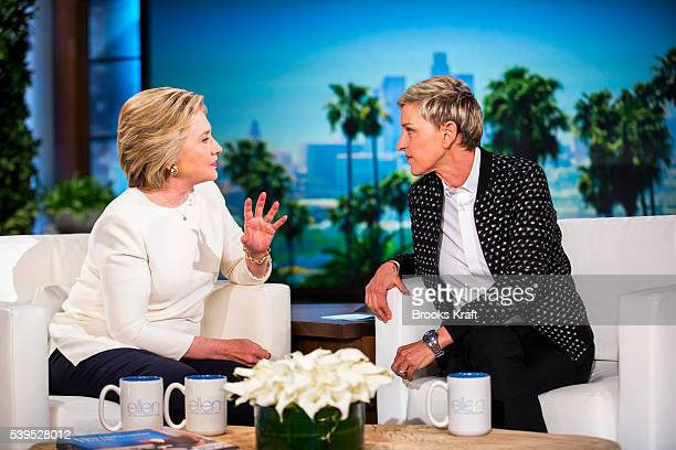 Democratic presidential candidate former Secretary of State Hillary Clinton talks with Ellen DeGeneres during a taping of The Ellen DeGeneres Show,...
