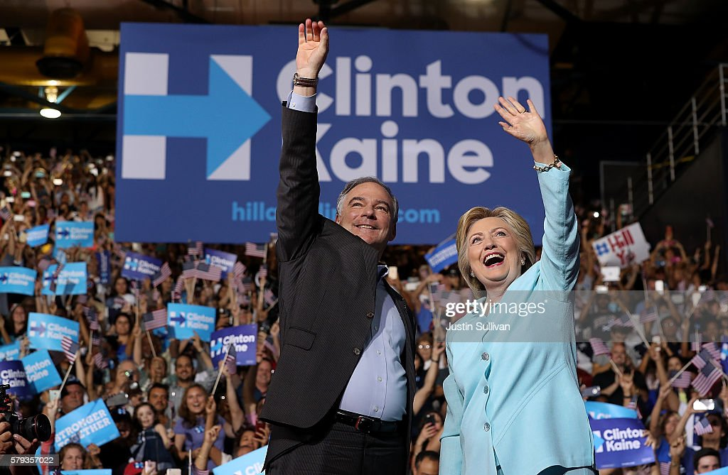 Democratic Presidential Candidate Hillary Clinton Appears With Vice Presidential Pick Sen. Tim Kaine : News Photo
