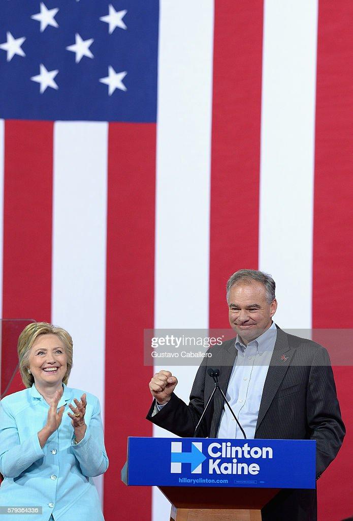 FL: Hillary Clinton And Tim Kaine Miami Rally