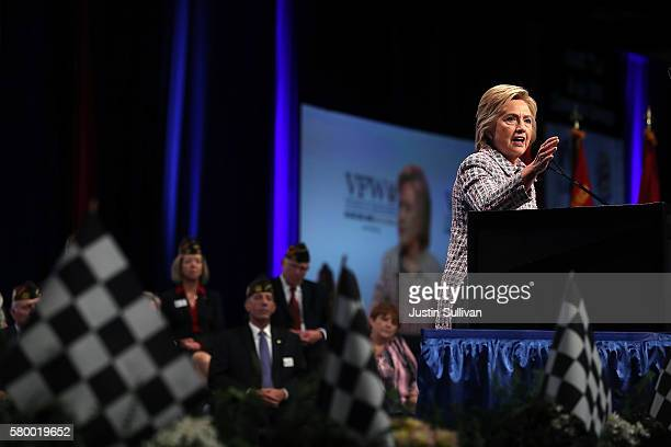 Democratic presidential candidate former Secretary of State Hillary Clinton speaks at the 117th National Convention of Veterans of Foreign Wars on...