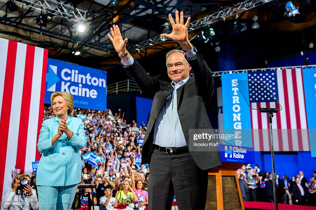 Hillary Clinton Introduces Tim Kaine As Vice Presidential Nominee : News Photo