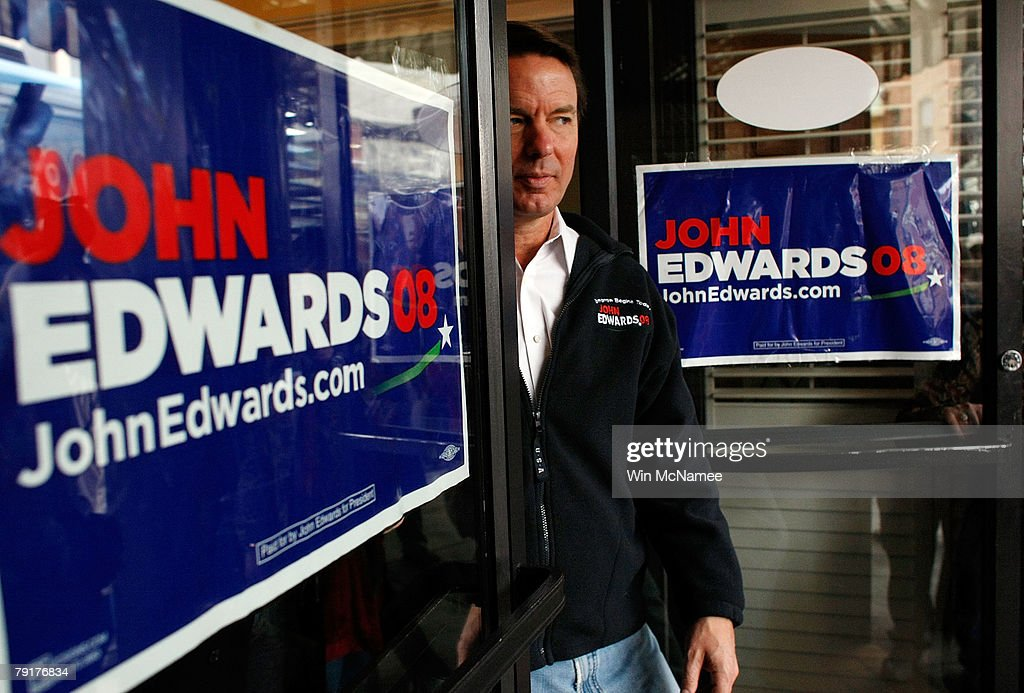 Democratic presidential candidate former Sen. John Edwards (D-NC) leaves a campaign event to speak to members of the press January 23, 2008 in Bennettsville, South Carolina. South Carolina holds its Democratic primary this Saturday.