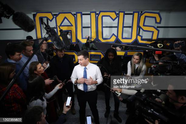 Democratic presidential candidate former South Bend Indiana Mayor Pete Buttigieg answers questions from members of the media following a town hall...