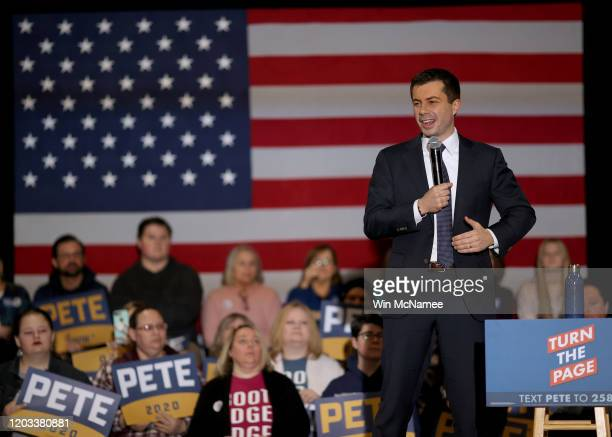 Democratic presidential candidate former South Bend, Indiana Mayor Pete Buttigieg speaks at a Get Out The Caucus rally February 1, 2020 in Waterloo,...