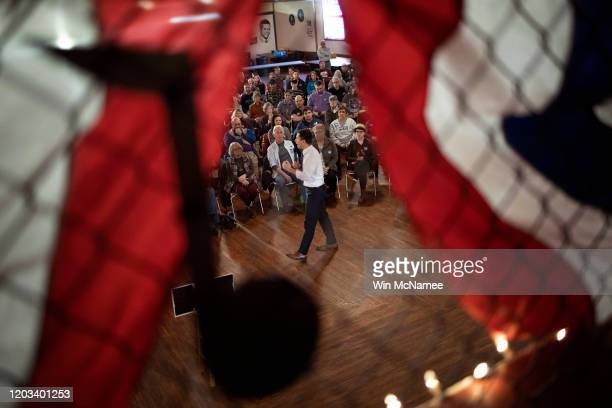 Democratic presidential candidate former South Bend Indiana Mayor Pete Buttigieg speaks at the Oelwein Coliseum during a Get Out The Caucus rally...