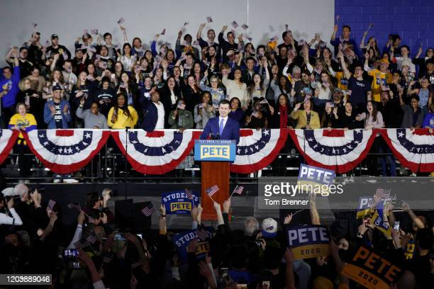 Democratic presidential candidate former South Bend Indiana Mayor Pete Buttigieg takes the stage to address supporters during his caucus night watch...
