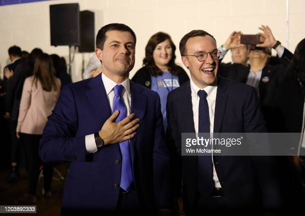 Democratic presidential candidate former South Bend Indiana Mayor Pete Buttigieg and his husband Chasten thank supporters after Buttigieg spoke at...